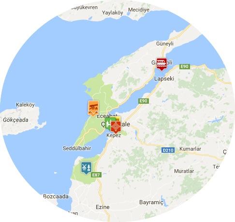 mapa Gelibolu
