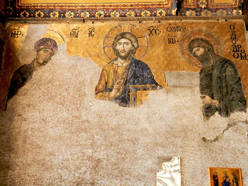 Mosaicos bizantinos na Hagia Sophia Museum ou Santa Sofia em istambul