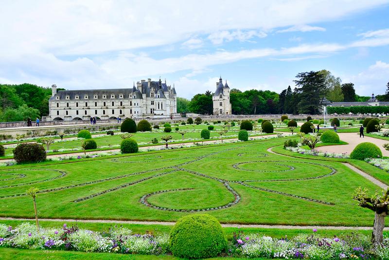 jardim do Château de Chenonceau no Centre da França