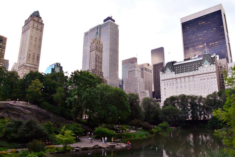 Vista dos prédios do Upper Midtown dentro do Central Park de New York