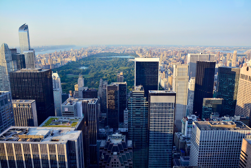 View from Manhattan, Rockefeller Center, Top of the Rock, Theater District, Manhattan, New York, NYC, USA, EUA
