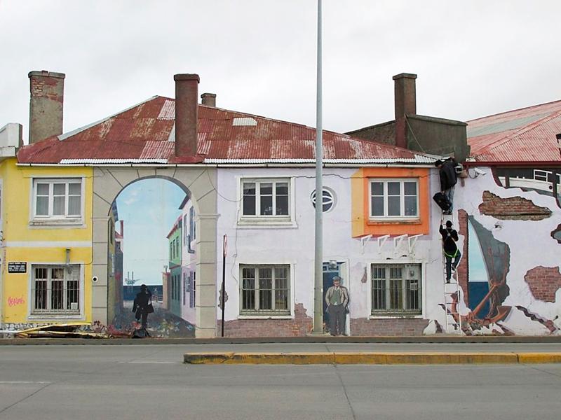 grafite nas paredes das antigas docas de Punta Arenas no Chile