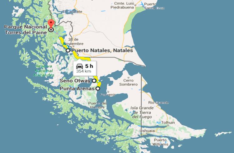 Mapa Patagônia Sul Chilena, distrito de Magalhães