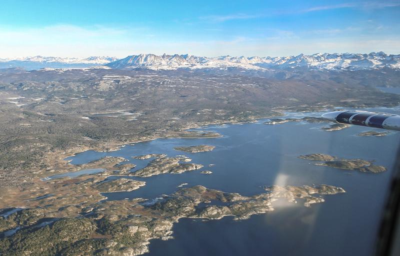 Ilhas do Canal Beagle vistas de Ushuaia na Argentina a partir do avião