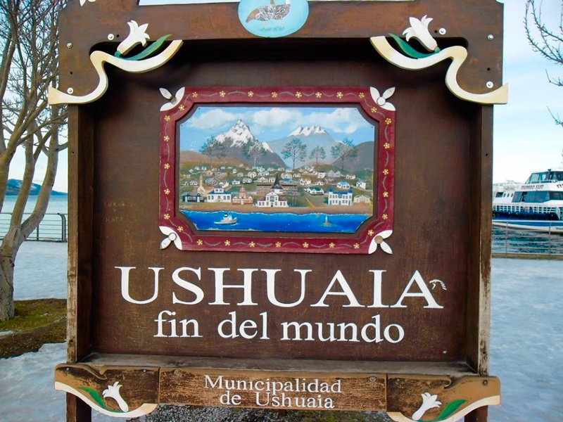 Placa da Cidade de Ushuaia na Argentina