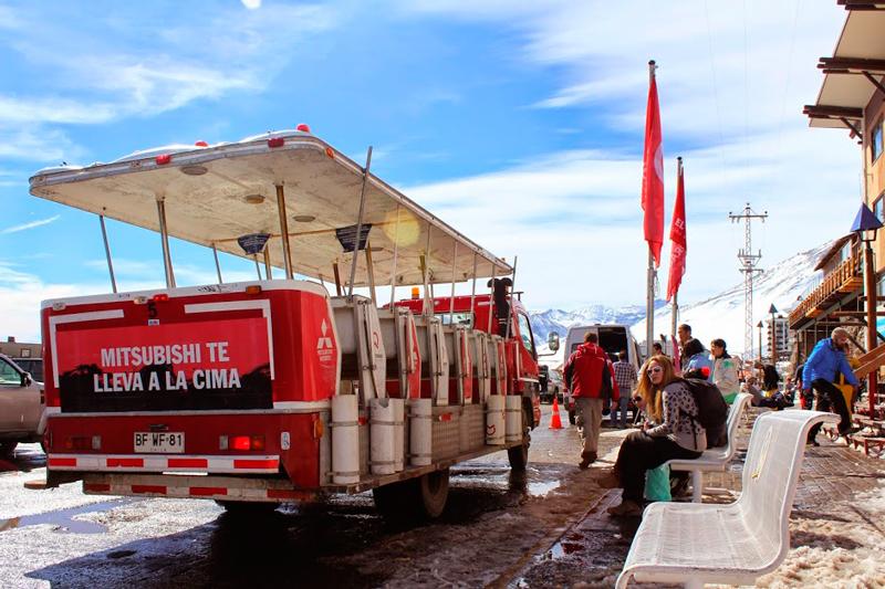 transporte gratuito em Farellones no Chile