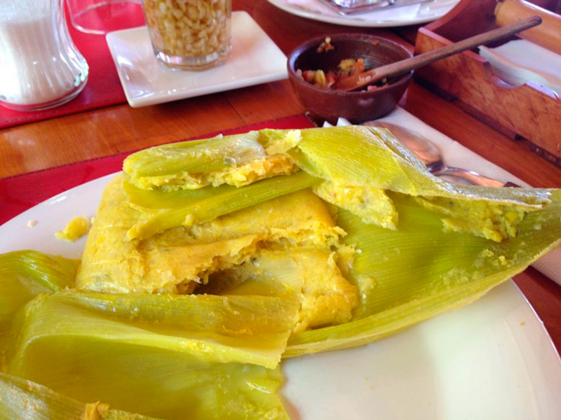 Humitas no Restaurante Al Sur del Elqui em Vicuña no Chile