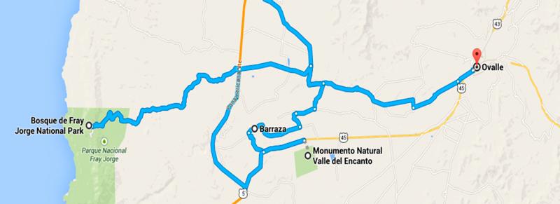 Mapa mostrando o Caminho Barraza - Monumento Natural Vale del Encanto-Ovalle - Parque Fray Jorge, Chile