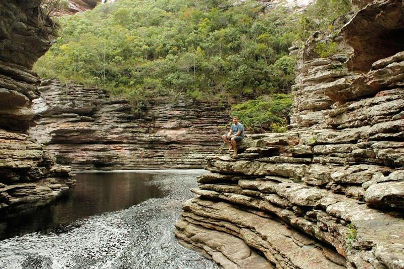 canion da Cachoeira do Buracão na Chapada Diamantina na Bahia