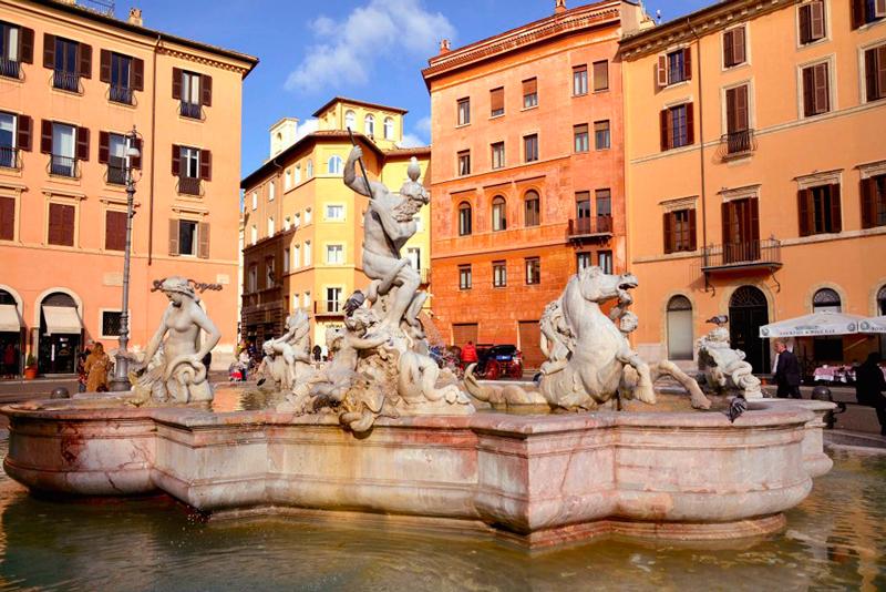"""Fontana di Nettuno"" de Giacomo della Porta na Piazza Navona em Roma na Itália"