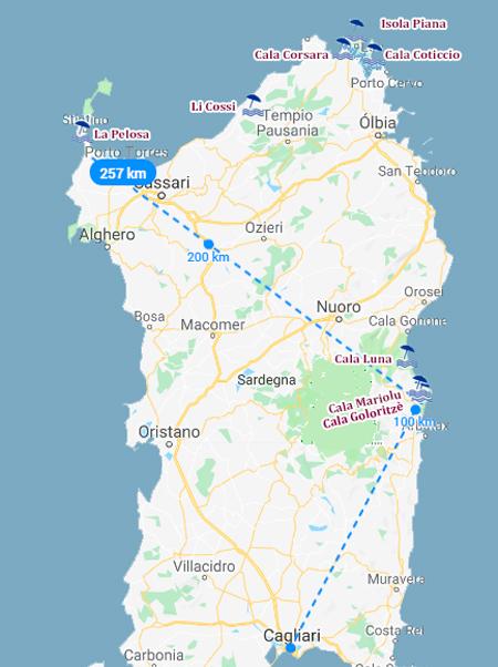 mapa com as norte da Sardenhamelhores praias do