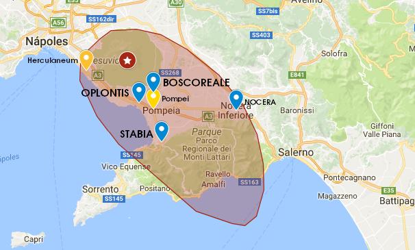 mapa dos sitios arqueológicos em volta do vesuvio, italia