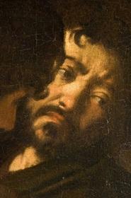"""Autoretrato de Caravaggio na tela """"Martirio di san Matteo"""""""