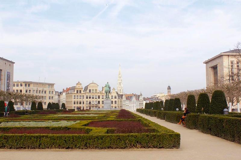 Detalhe do Jardin du Mont des Arts em Bruxelas na Bélgica