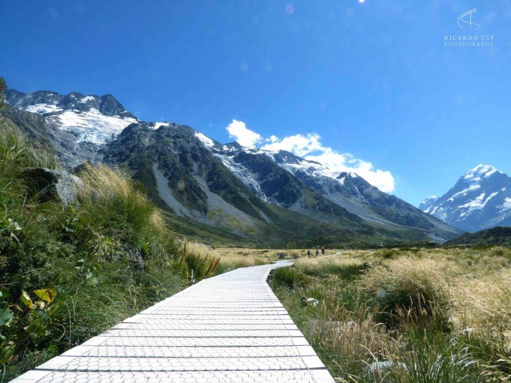 Detalhe do caminho para a Mount Cook
