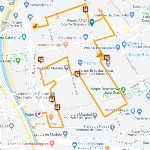 Trajeto a pé do Passeio pelo BRÁS em São Paulo