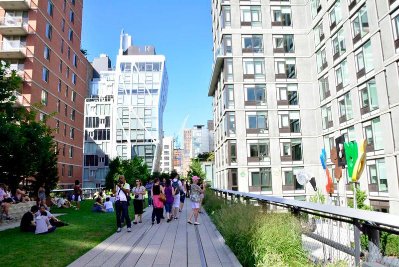 em cima do High Line em New York