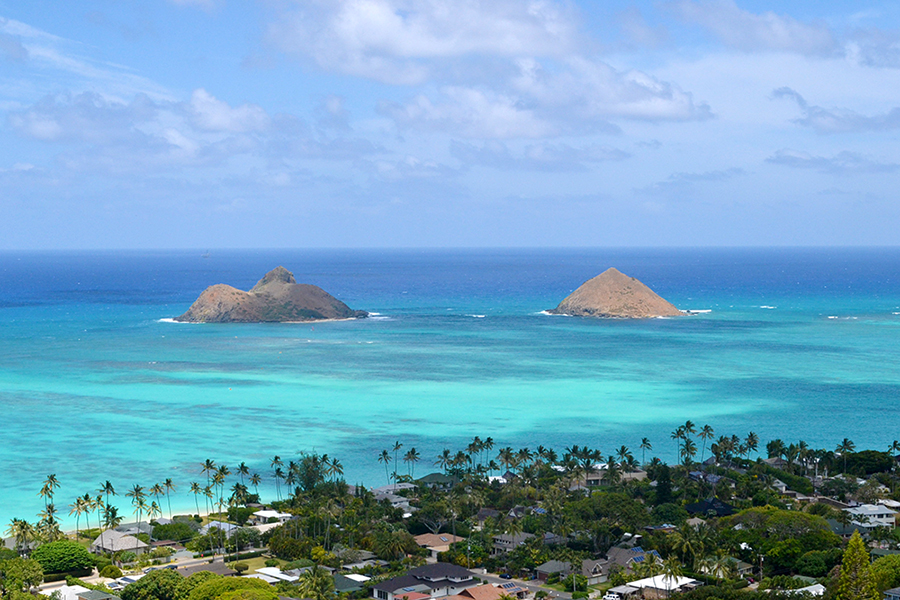 Vista de Lanikai do alto da Pillbox trail, Casamento e lua de mel no Hawaii, Estados Unidos