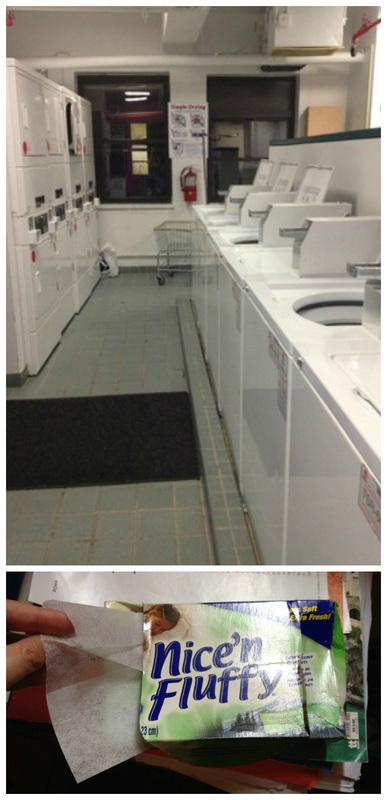 """Foto acima: Lavanderia do hostel. Foto abaixo: o """"Softer dryer sheets"""""""