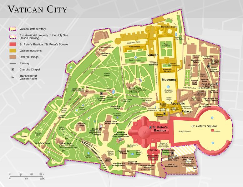 Mapa do Vaticano retirado de wikipedia.com