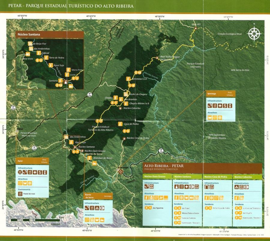 Mapa do PETAR escaneado de folder em espanhol
