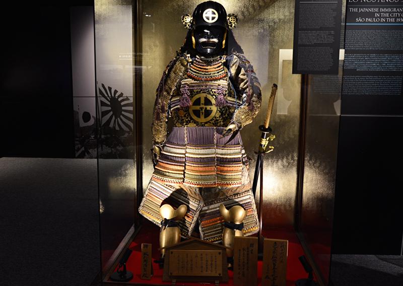 armadura samurai em exposição no MHIJB - Museu Histórico da Imigração Japonesa no Brasil