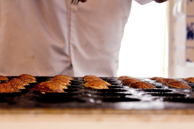 uma variação de Waffles na vila Marken na Holanda