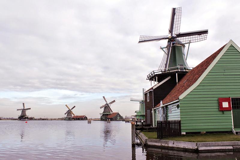 moinhos de Zaanse Schans na Holanda