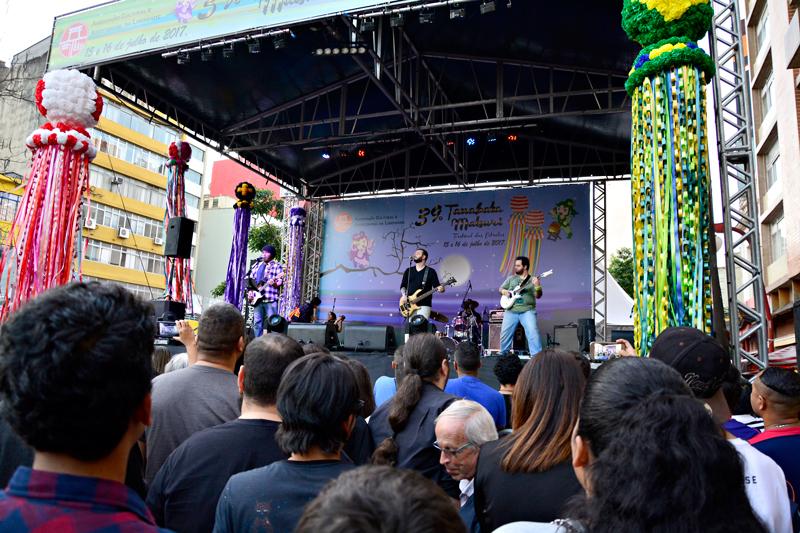 Apresentação musical no Tanabata Matsuri ou Festival das Estrelas no bairro da Liberdade em São Paulo