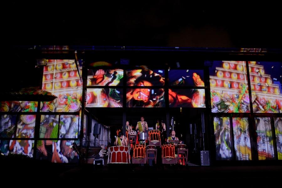 Apresentação do Wadaiko Sho no evento Japão Digital no Pavilhão Japonês