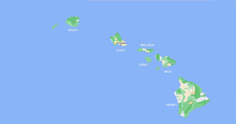 Localização das ilhas do arquipélago Hawaii