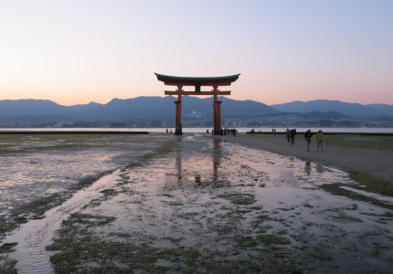 miyajima, portal no por-do-sol, Japão, Japan